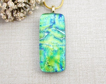 Rectangle Green Fused Dichroic Pendant -  Bright Green and Blue Fused Glass Pendant - Handmade Glass Jewelry