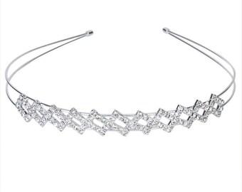 Silver Plated Crystal Wedding Bridal Headband Tiara Hair Band Diamante DFK1007