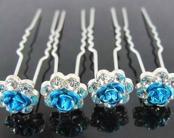 Rose Flower Crystal Bridal Wedding Prom Hair Pins Clips - HAR1010 - UK Seller