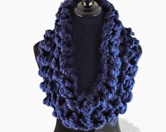 Blue Crochet Scarf, Crochet Cowl, Indigo Infinity Scarf, Royal Blue Neck Warmer, Handmade Crochet Scarf, Bright Blue Snood Scarf