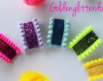 Rainbow neon glitter pompom bang snap clips