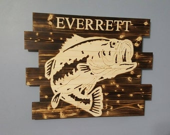 Bass Fishing - Fish Decor - Wall Art Rustic Decor