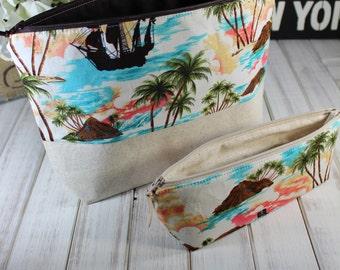 Beach Makeup Bag, Cosmetic Bag, Bridesmaid Gift, Hawaiian Zipper Pouch, Pencil Case, Beach, Tropical Travel Bag
