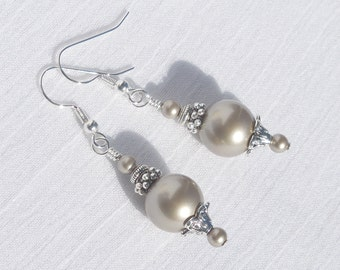 Swarovski platinum pearl and silver earrings