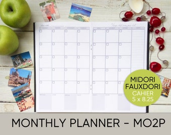 Midori insert, Midori Traveler's Notebook insert, Fauxdori insert, Cahier printable, Midori printable, monthly planner, journal, notebook