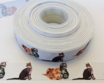 Cat grosgrain ribbons, kitten ribbons,feline ribbons, animal ribbons, 7/8 inch Grosgrain ribb