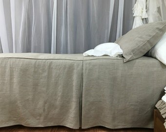 Dark Linen Tailored Bed Cover, Linen Bedspread, Tailored Pleats, Tailored Bed Cover