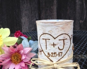 Birch Candle Holder, Birch Centerpiece, Birch Candle Holder, Custom Birch Candle, White Birch Candle, Rustic Wedding, Rustic Wood Candles,
