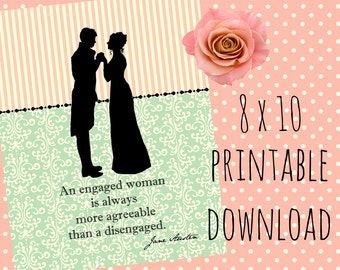 Jane Austen Bridal Shower, Bridal Shower Decorations, Jane Austen, Bridal Shower Decor, Digital Print