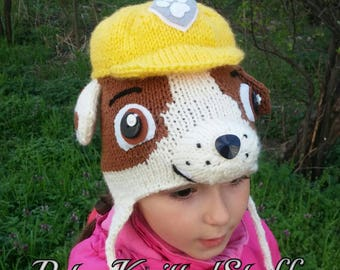 Rubble hat, Paw Patrol hat, Rubble paw patrol knitted hat, Character knitted earflap hat, Halloween hat, Rubble Costume, Paw Patrol Costume