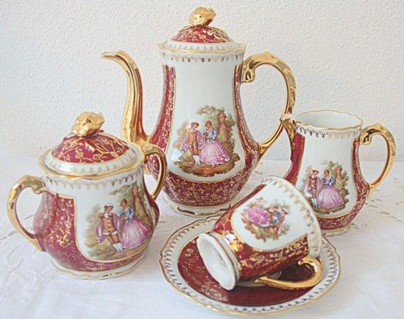 Beautiful Vintage Limoges Porcelain Demitasse Coffee Set, Coffee Service, Love Story Decor, Real Gold Gilding, France