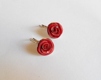 earrings with pink cold porcelain - available in red, purple and blue