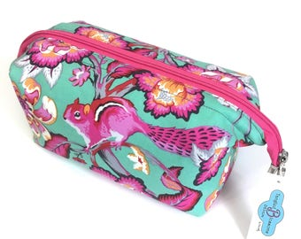 Washbag - Makeup - cosmetics - wetbag - Gorgeous Tula Pink Chipper Chipmunk in sorbet