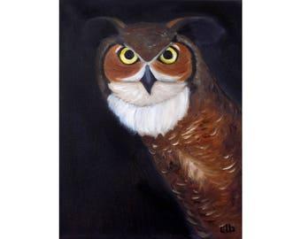 Owl Painting, 11 x 14, Oil Painting, Original Art, Great Horned Owl Art, Bird Painting, Night Painting, Owl Wall Art, Tiger Owl, Hoot Owl