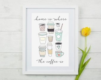 "Coffee ""Home Is Where The Coffee Is""  Wall Decor Print"