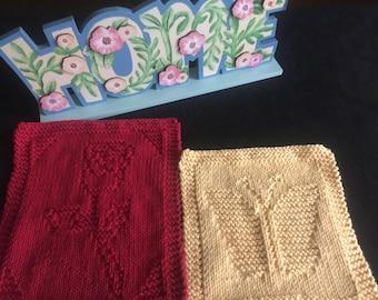Dishcloths, Wash cloths, Cotton dishcloths, Dish cloths, Spa set, Rose dishcloth, Butterfly wash cloth, Butterfly dish cloth, Kitchen decor