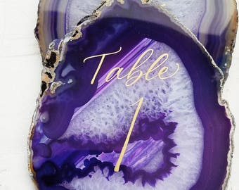 Large agate slices table numbers - organic, natural, custom