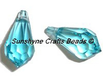 Swarovski Crystal Beads 6000 2pcs LIGHT TURQUOISE Teardrop Faceted Pendant - Sizes 11mm, 13mm & 15mm available
