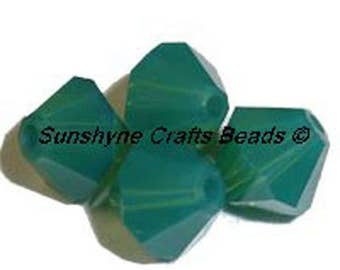 Swarovski Crystal Beads 5301/5328 PALACE GREEN OPAL Xilion Faceted Bicone Beads - Sizes 4mm & 6mm available
