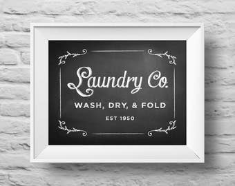 LAUNDRY CO. Wash Dry Fold unframed Typographic poster, inspirational print, laundry decor, laundry room print, laundry quote art. (R&R0163)