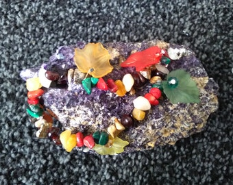 Autumn fall semi precious stone bracelet