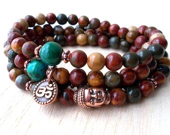 108 Mala Beads Buddhist Necklace, Buddha Mala OM Necklace, Buddhist Jewelry, Meditation Necklace, Spiritual Jewelry, Jasper, Chrysocolla