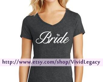 Glitter Bride Shirt with Diamond - Womens Soft V-Neck Shirt
