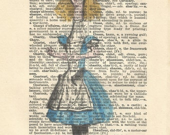 Tall Alice in wonderland vintage print wall art quote book art vintage paper art gift