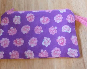 Ladies NEW Wrist Pouch Bag Purse Wristlet Pocketbook PINK ROSES Print P175