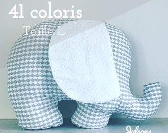 Cushion elephant custom - size L - 41 colours - baby shower gift personalized