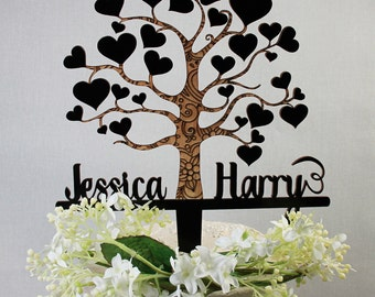 LARGE Love Tree Wooden Anniversary Cake Topper Wedding Bride and Grooms Names