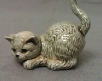 Grey and Beige Cat Crouched with Raised Tail Cat Figurine