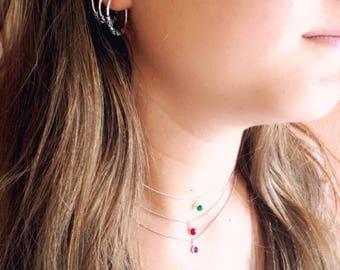 Solitary necklace. Silver dot cz necklace. Silver zirconia necklace. Dainty necklace. Ruby necklace. Minimalist necklace