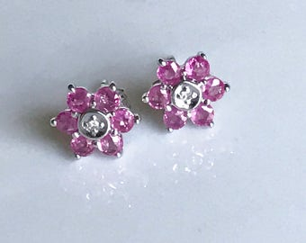 14k Ruby Diamond Flower Earrings,14k Ruby Stud Earrings,Flower Earrings,