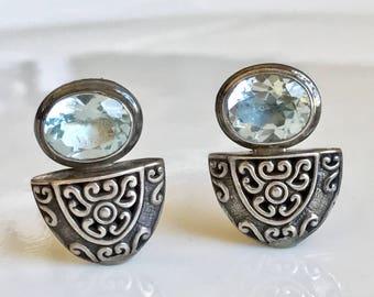 Silver Blue Topaz Earrings,Vintage Blue Topaz Post Earrings,Pale Blue Topaz Stud Earrings