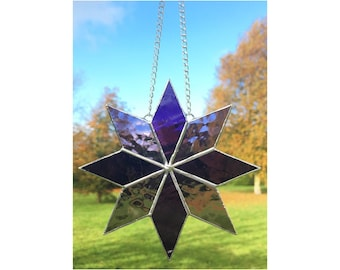 Stained glass purple star suncatcher decoration