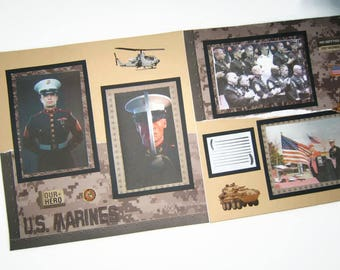 Marines Scrapbook Pages - Marine Corps Layout - Military Pages - Military Premade Scrapbook Pages - Marines Scrapbook Layouts - Marines Wife