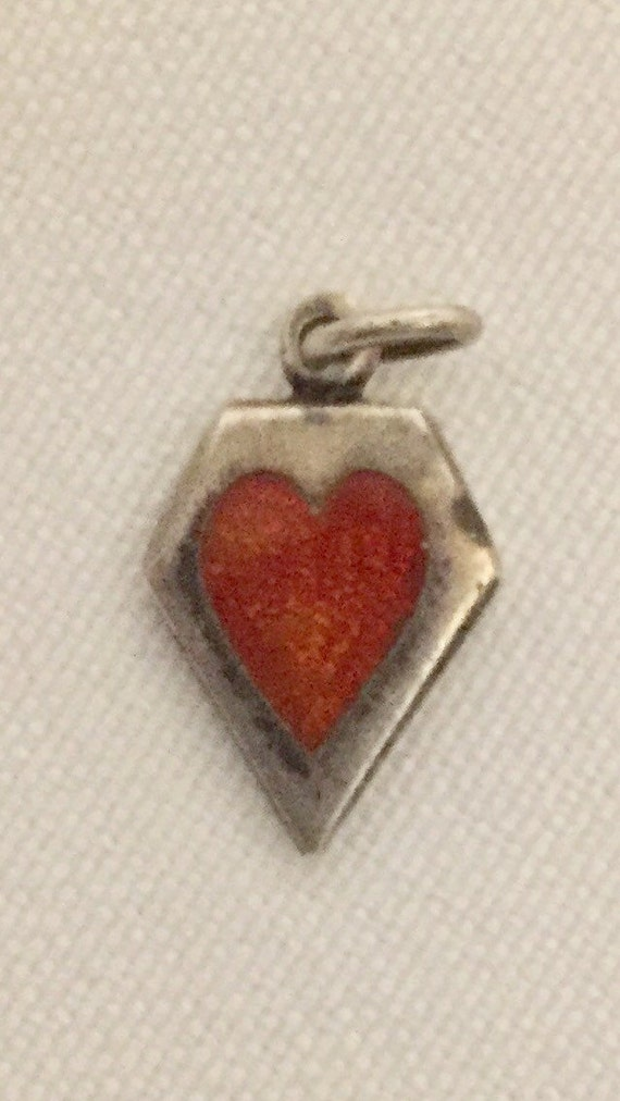 """FREE SHIPPING-Vintage-1940's-Sterling Silver-Memory-Red-Guilloche-Enamel-Heart-Charm-Engraved """"Sweet"""""""