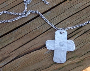 Cross Pendant, Old Rugged Cross, Riveted, Cold Connection, Necklace, Cross Charm, Rustic, Christian Necklace