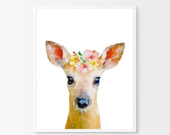 Baby dear animal print, instant download, watercolor flower, woodland animal prints, nursery wall art,