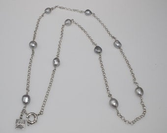 Grey pearl necklace, chain necklace, grey pearls silver chain necklace, pearl & chain necklace, pearl necklace, sterling silver necklace