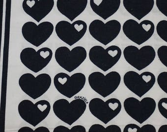 Vintage fabric fabric 70s 70s Graziela heart black hearts black 50 x 65 cm / 19 x 25 '