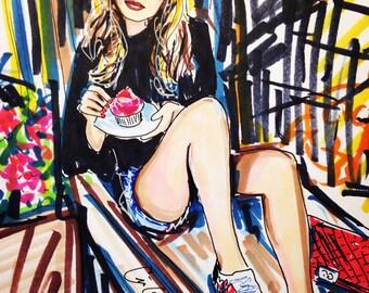Original Fashion Illustration - cupcake time- by Cris Clapp Logan