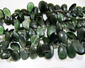 Natural Serpentine Briolette Gemstone Beads , Russian Serpentine Faceted Pear Shape Beads 6x8 mm to 16x20 mm , Strand 8 to 9 inches long.
