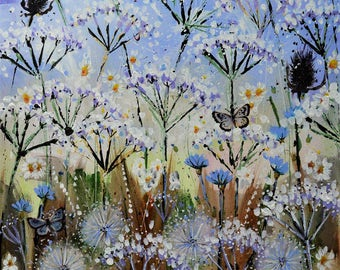 Butterfly Meadow I. Early Summer Wild Meadow Original Landscape Painting. 45.5cm x 60.5cm Acrylic on Canvas