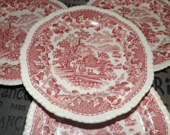 SET of 4 vintage (c. late 1970s) Wood & Sons Seaforth Pink transferware bread-and-butter or tea plates.  Rope edge, Chinoiserie motif.
