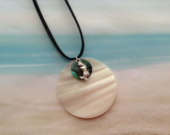 Nautical Mother of Pearl Disc Mussel Shell Pendant Mermaid Charm Black Velvet Cord Necklace Jewellery