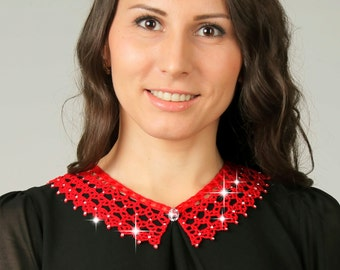 Hand made crochet collars, Knitted detachable collar necklace, Hand made lace collar, Red knitted collar