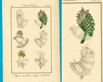Antique 1814 bonnets fashion print Costume Parisien Regency hats ribbon