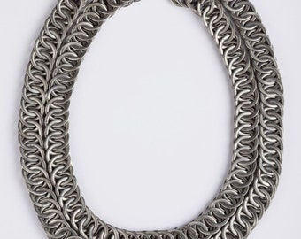 Massive Etched Double Strand Chain Necklace